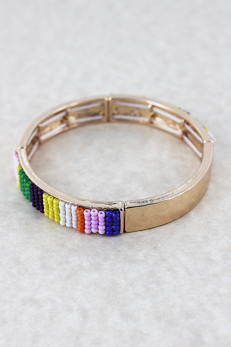 Multi-Color Seed Bead Bar Goldtone Stretch Bracelet