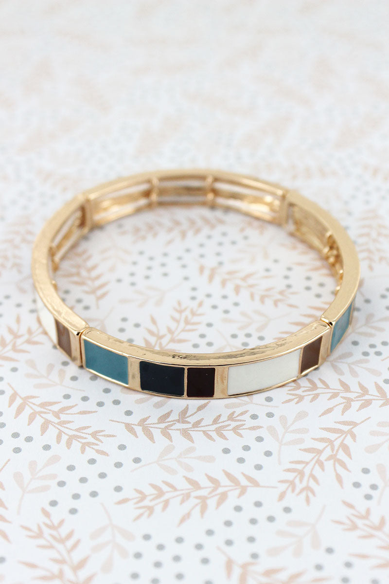 Blue Multi-Color Enamel Tiled Goldtone Bracelet