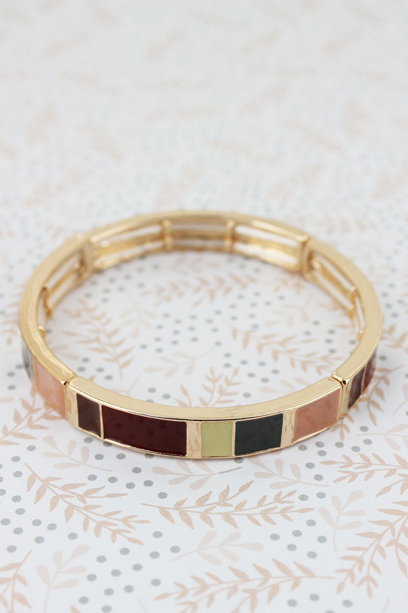 Burgundy Multi-Color Enamel Tiled Goldtone Bracelet