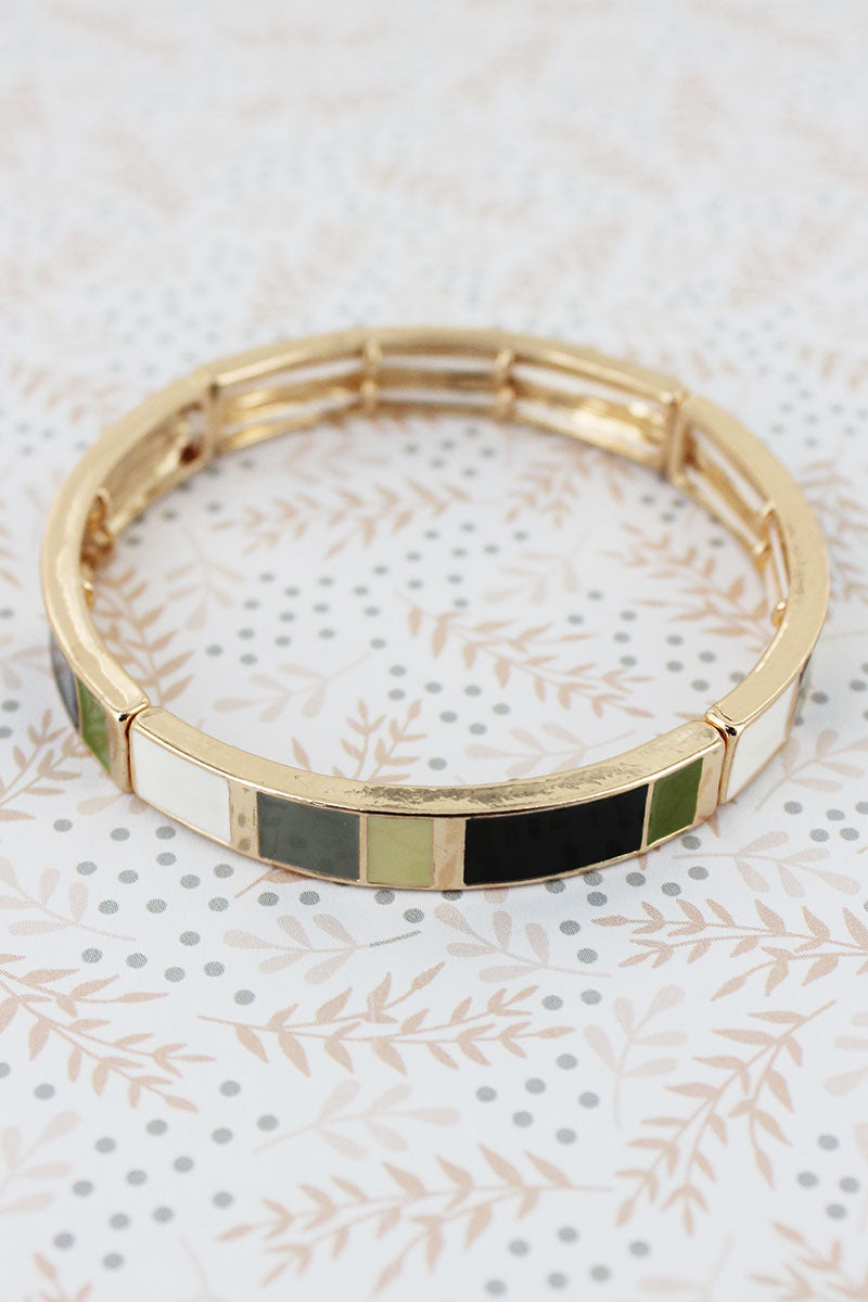 Olive Multi-Color Enamel Tiled Goldtone Bracelet