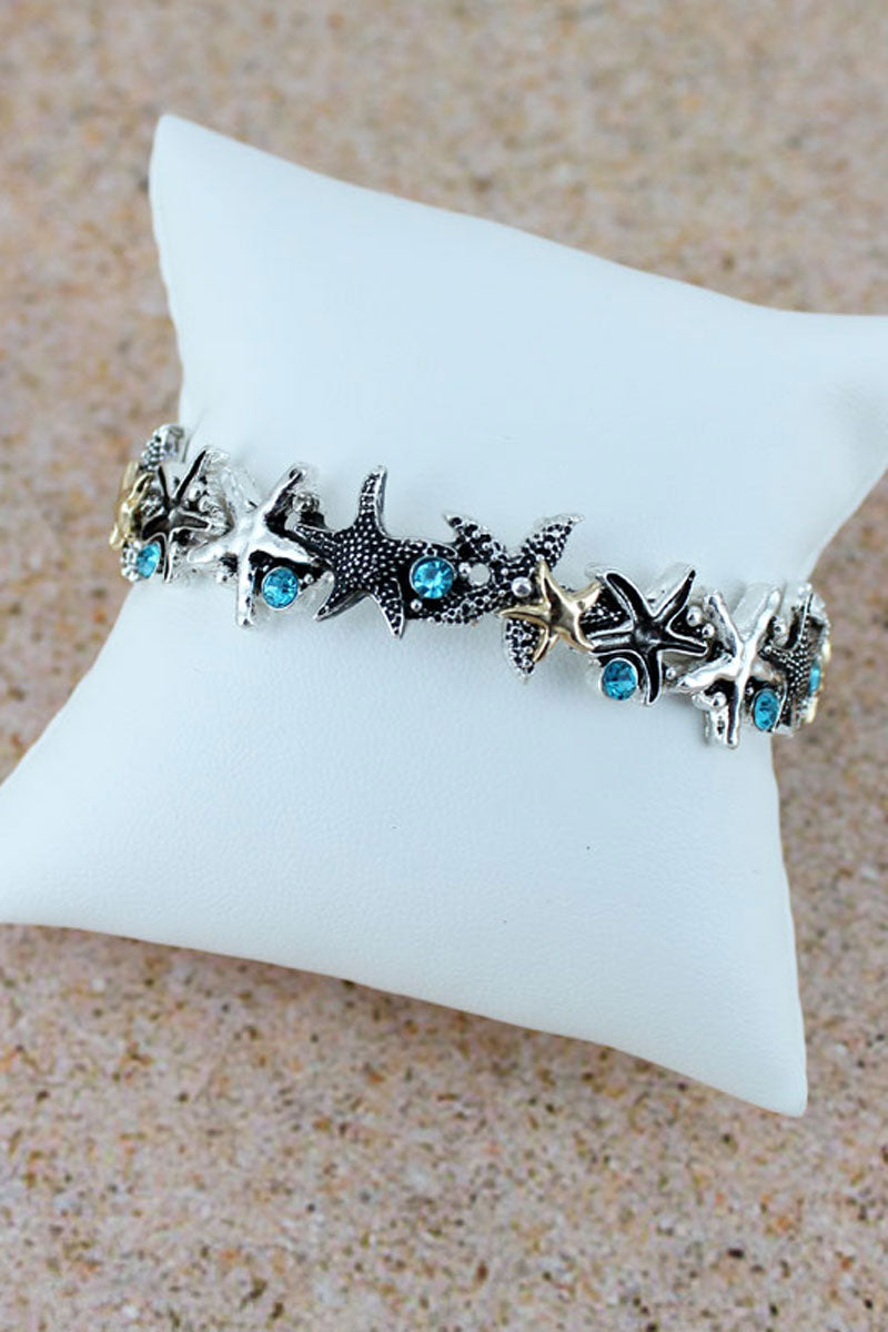 Aqua Crystal Accented Two-Tone Starfish Stretch Bracelet