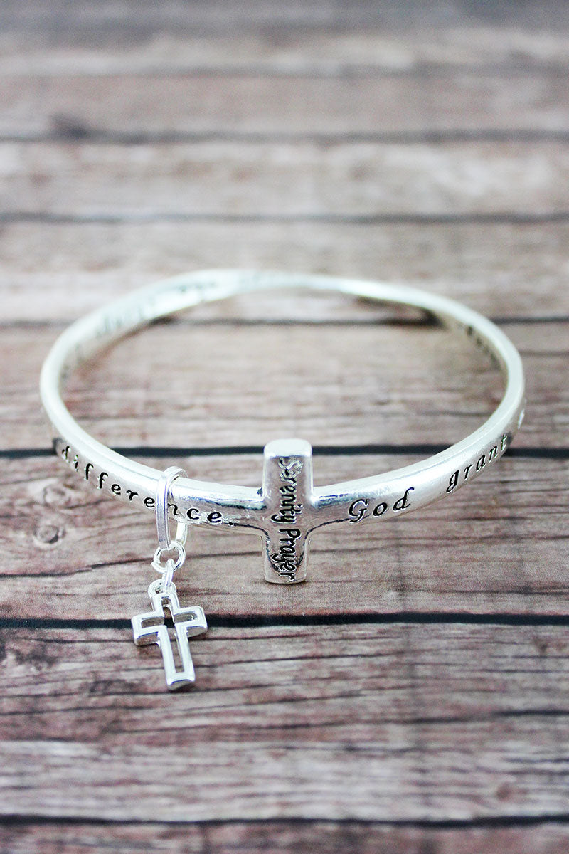 Serenity Prayer Silvertone Cross Twist Bangle with Charm