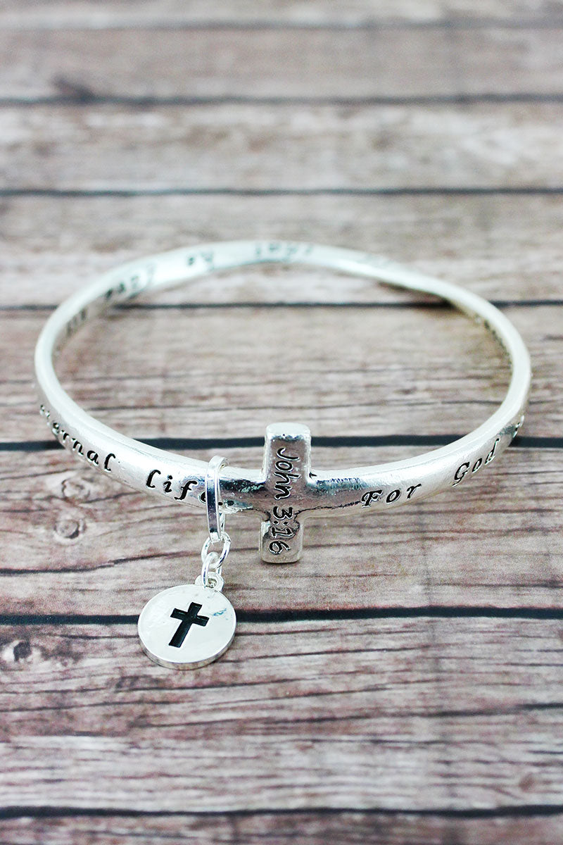 John 3:16 Silvertone Cross Twist Bangle with Charm