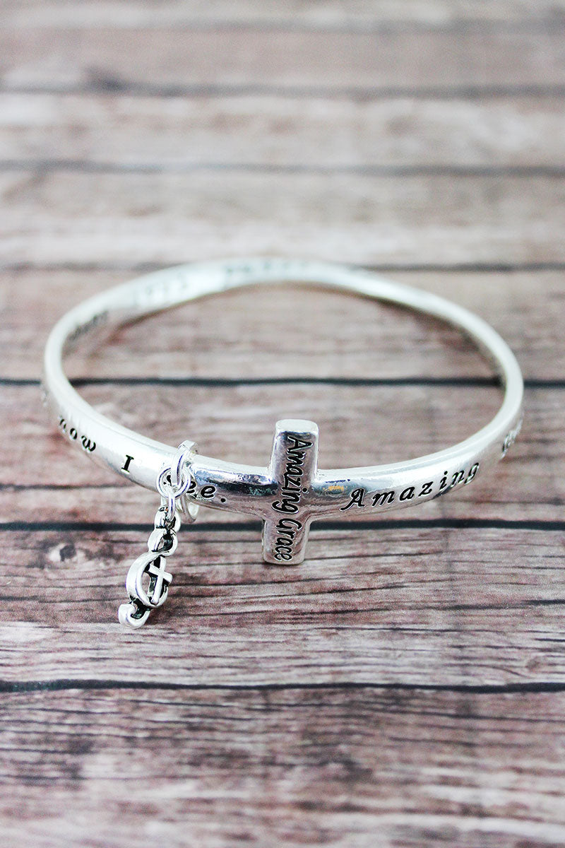 Amazing Grace Silvertone Cross Twist Bangle with Charm