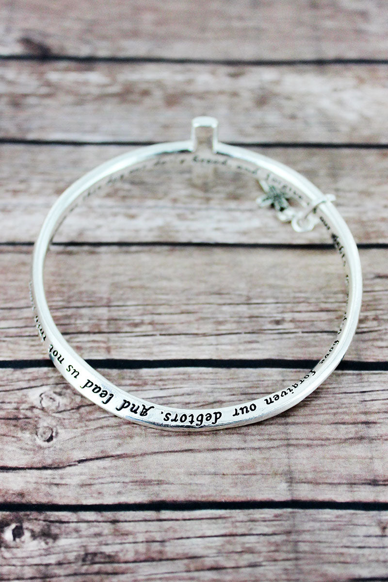 Lord's Prayer Silvertone Cross Twist Bangle with Charm