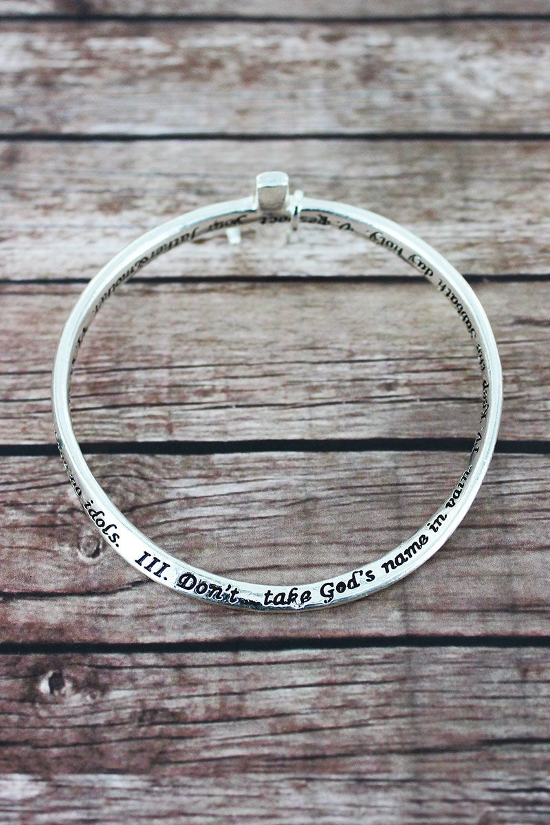 Ten Commandments Silvertone Cross Twist Bangle with Charm