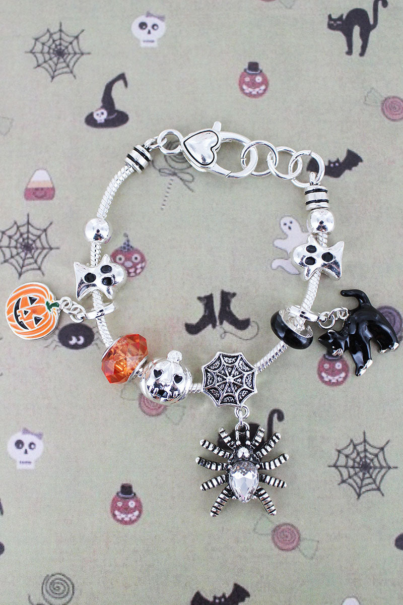 Spider, Black Cat, and Jack-O'-Lantern Sliding Bead Charm Bracelet