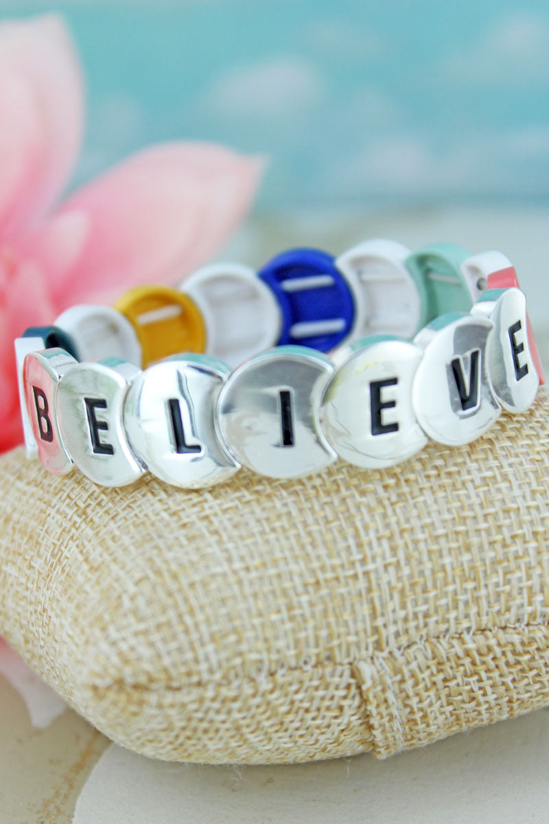 Multi-Color and Silvertone Overlapping Disk 'Believe' Bracelet