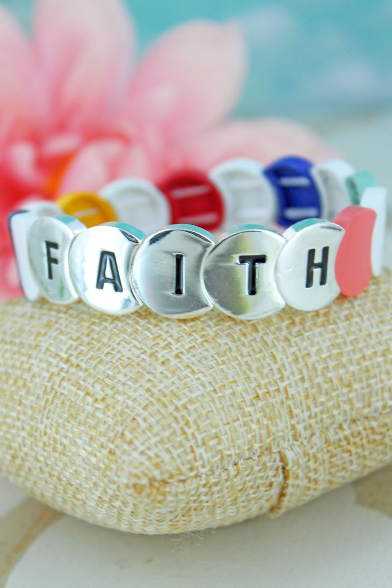 Multi-Color and Silvertone Overlapping Disk 'Faith' Bracelet