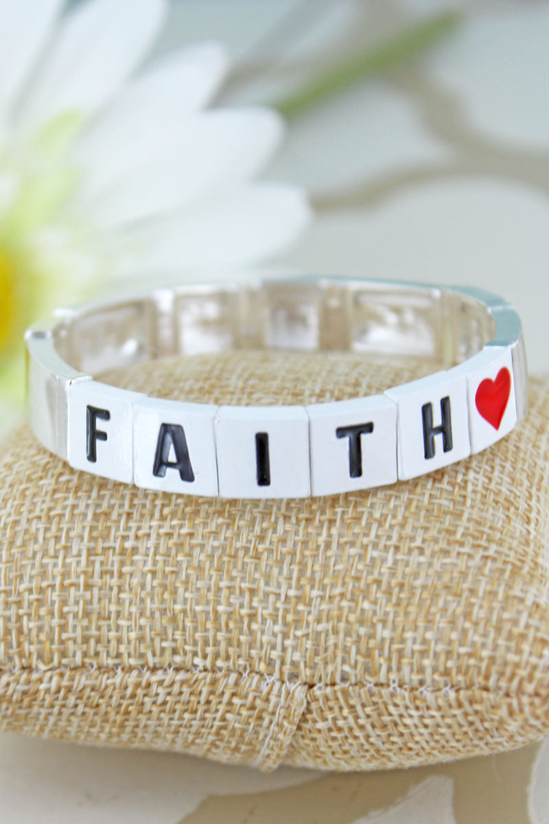 White Tiled Letter 'Faith' and Silvertone Bracelet