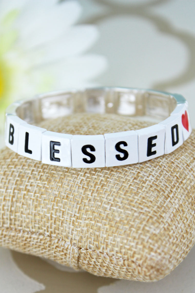 White Tiled Letter 'Blessed' and Silvertone Bracelet
