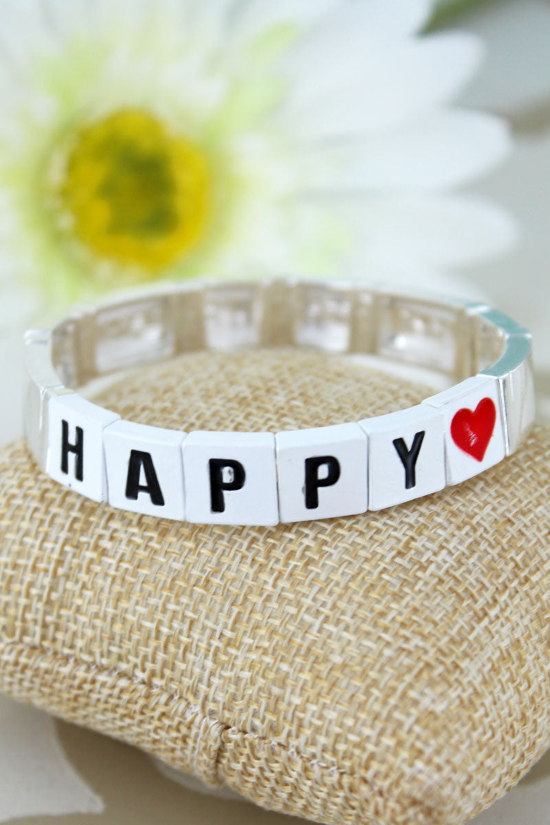 White Tiled Letter 'Happy' and Silvertone Bracelet