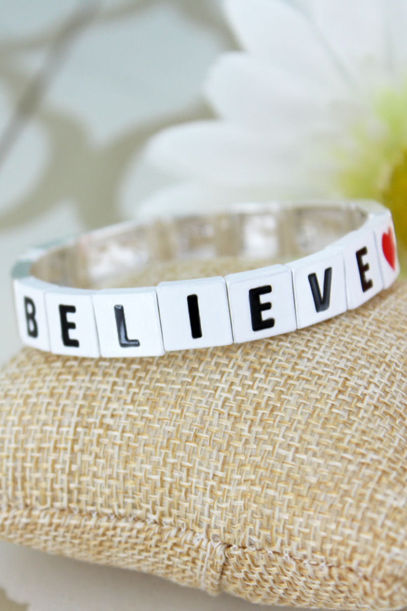 White Tiled Letter 'Believe' and Silvertone Bracelet