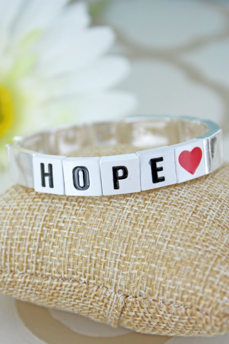 White Tiled Letter 'Hope' and Silvertone Bracelet