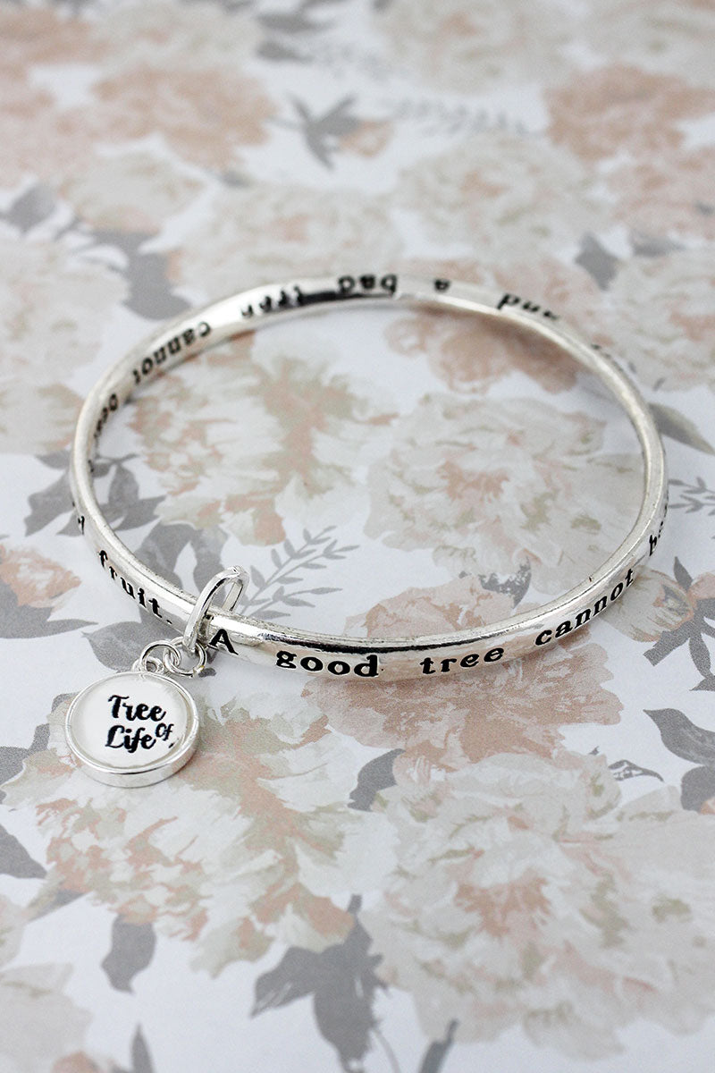Tree Of Life Silvertone Twist Bangle with Bubble Charm