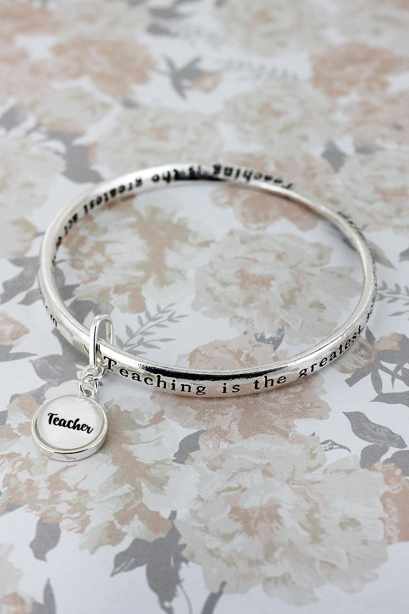 Teacher Silvertone Twist Bangle with Bubble Charm