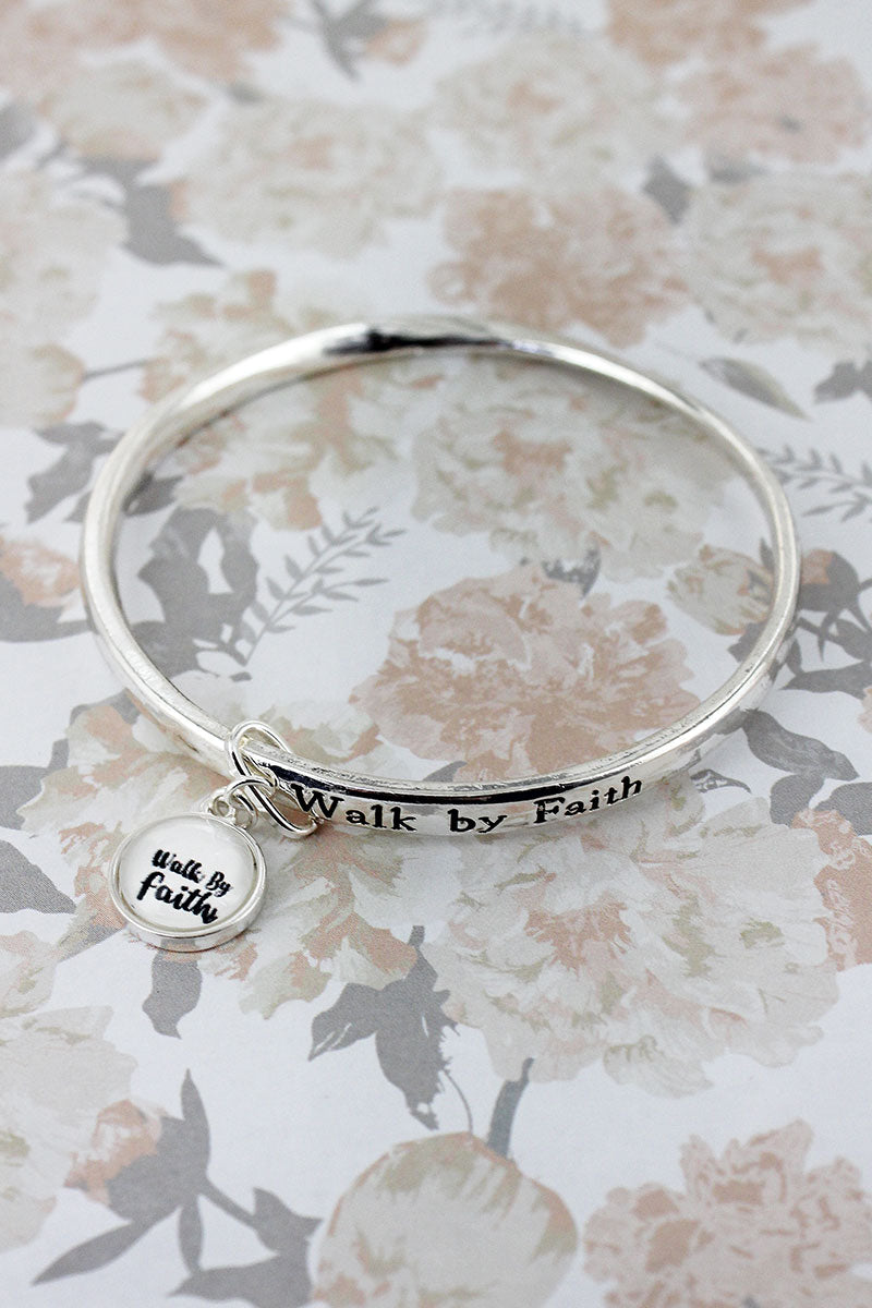Walk By Faith Silvertone Twist Bangle with Bubble Charm