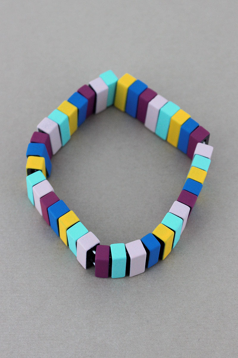 Light Multi-Color Tile Bead Stretch Bracelet