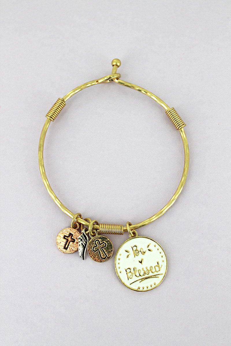 Goldtone and White 'Be Blessed' Disk Charm Bangle