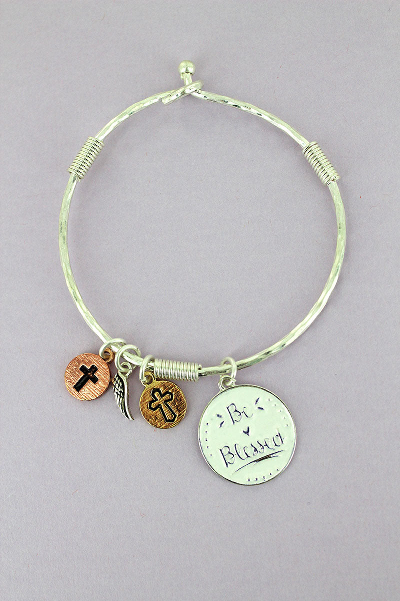 Silvertone and White 'Be Blessed' Disk Charm Bangle