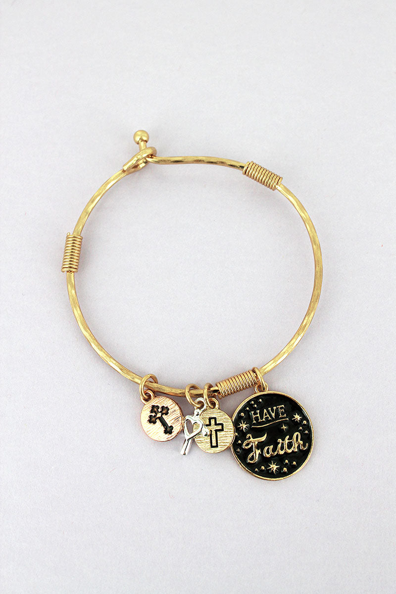 Goldtone and Black 'Have Faith' Disk Charm Bangle