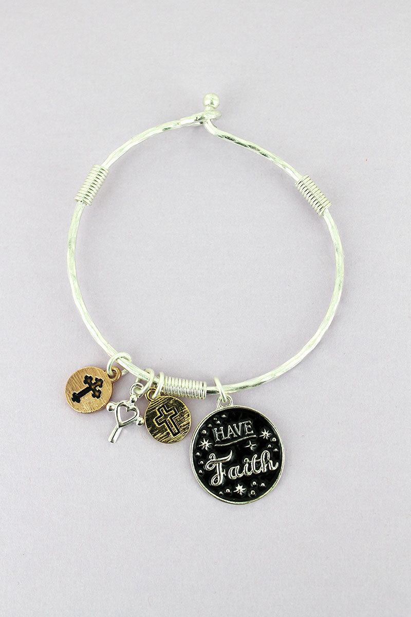 Silvertone and Black 'Have Faith' Disk Charm Bangle