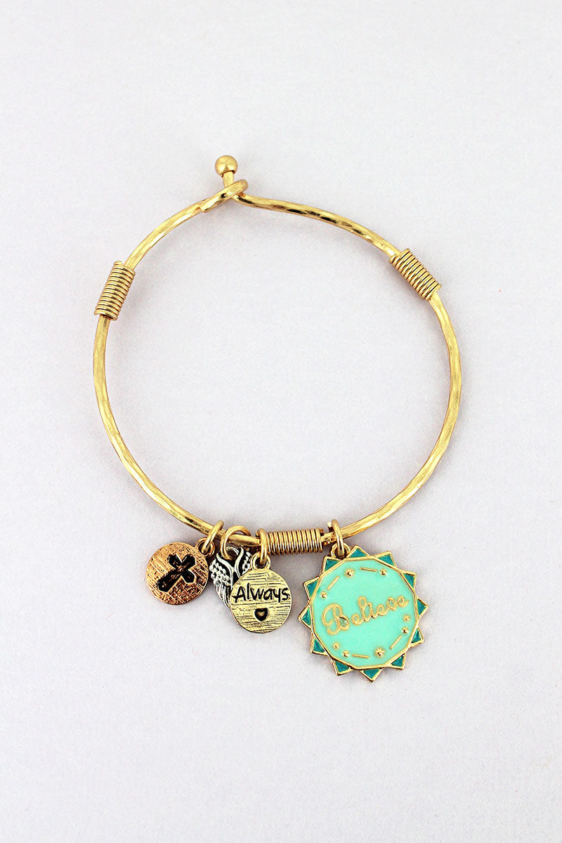 Goldtone and Mint 'Believe' Sun Charm Bangle