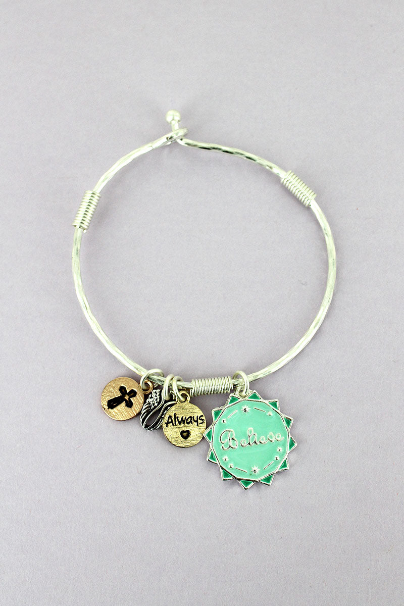 Silvertone and Mint 'Believe' Sun Charm Bangle