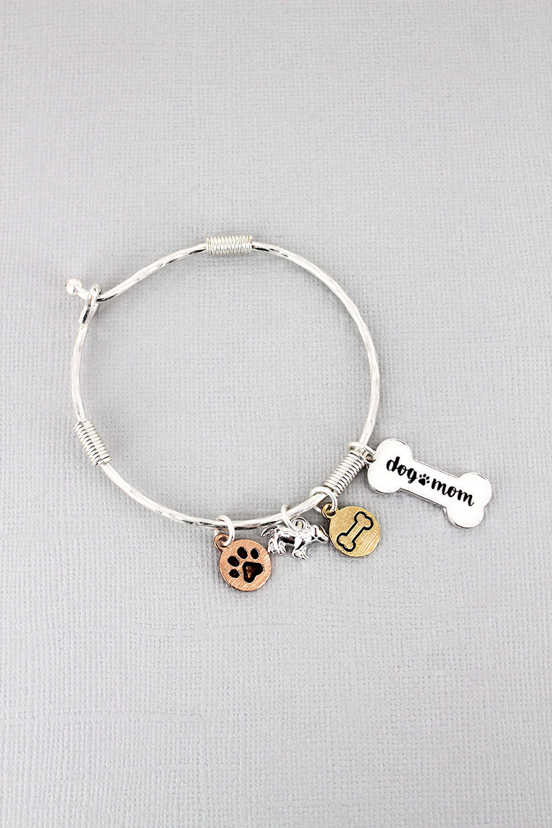 Silvertone and White 'Dog Mom' Bone Charm Bangle