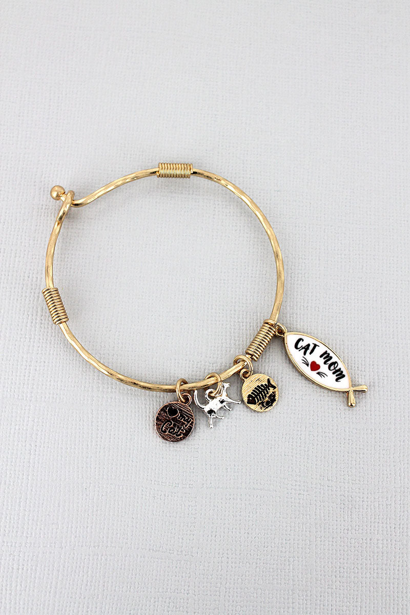Goldtone and White 'Cat Mom' Fish Charm Bangle