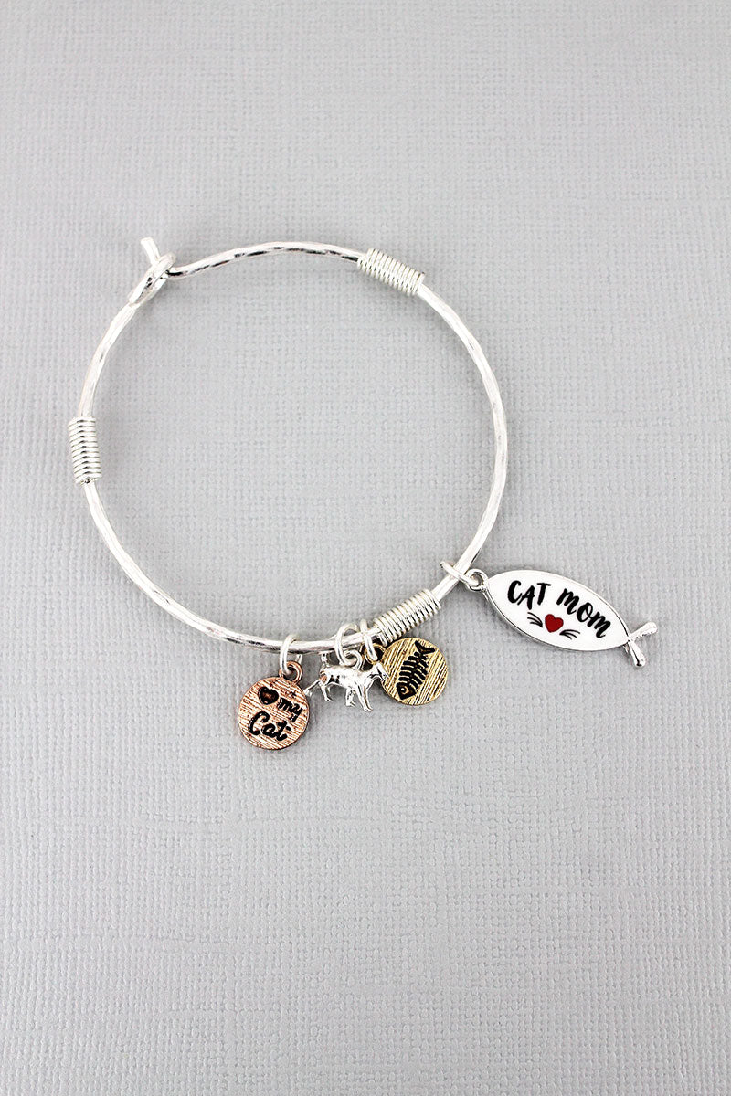 Silvertone and White 'Cat Mom' Fish Charm Bangle