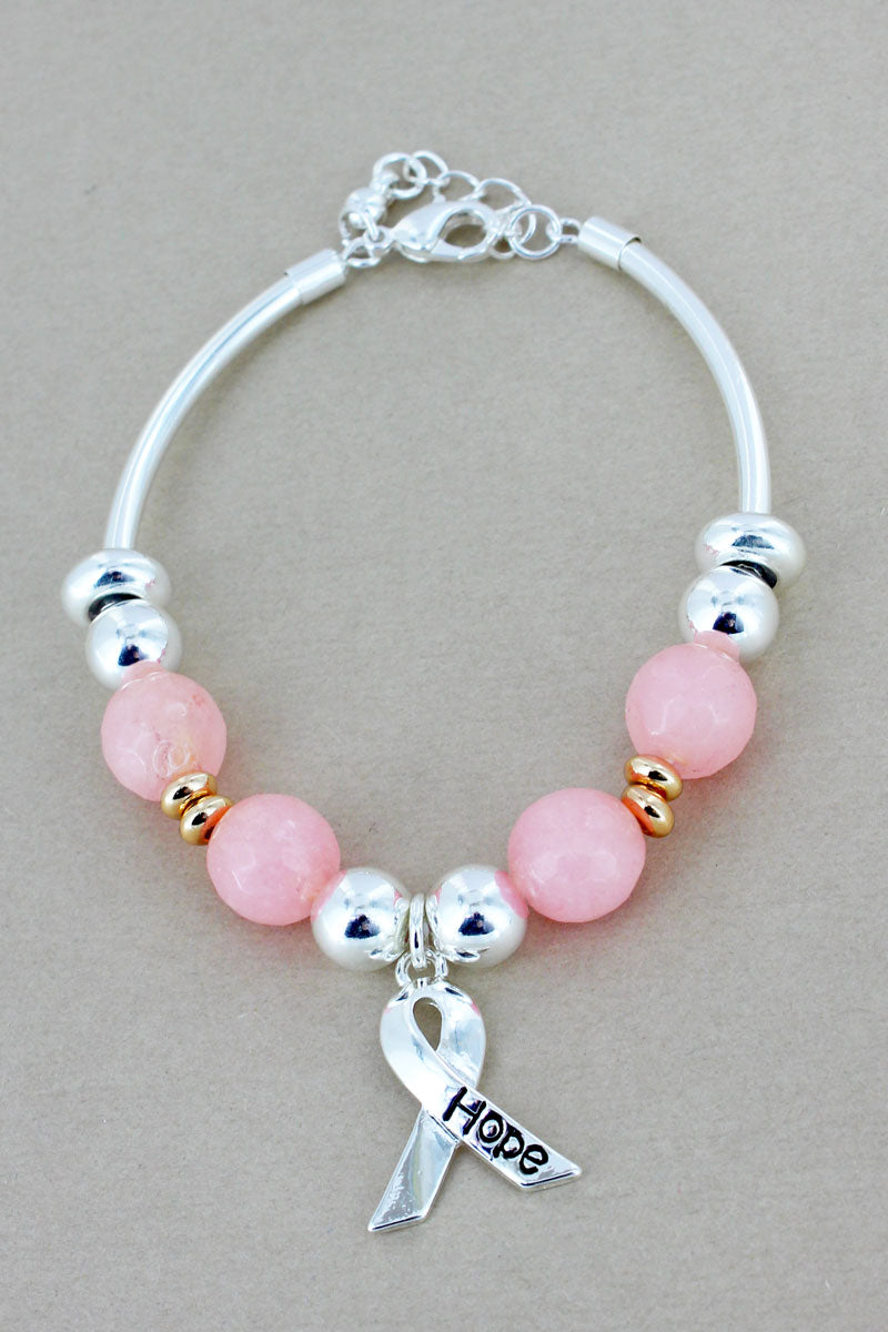 Silvertone 'Hope' Ribbon Pink Beaded Bracelet