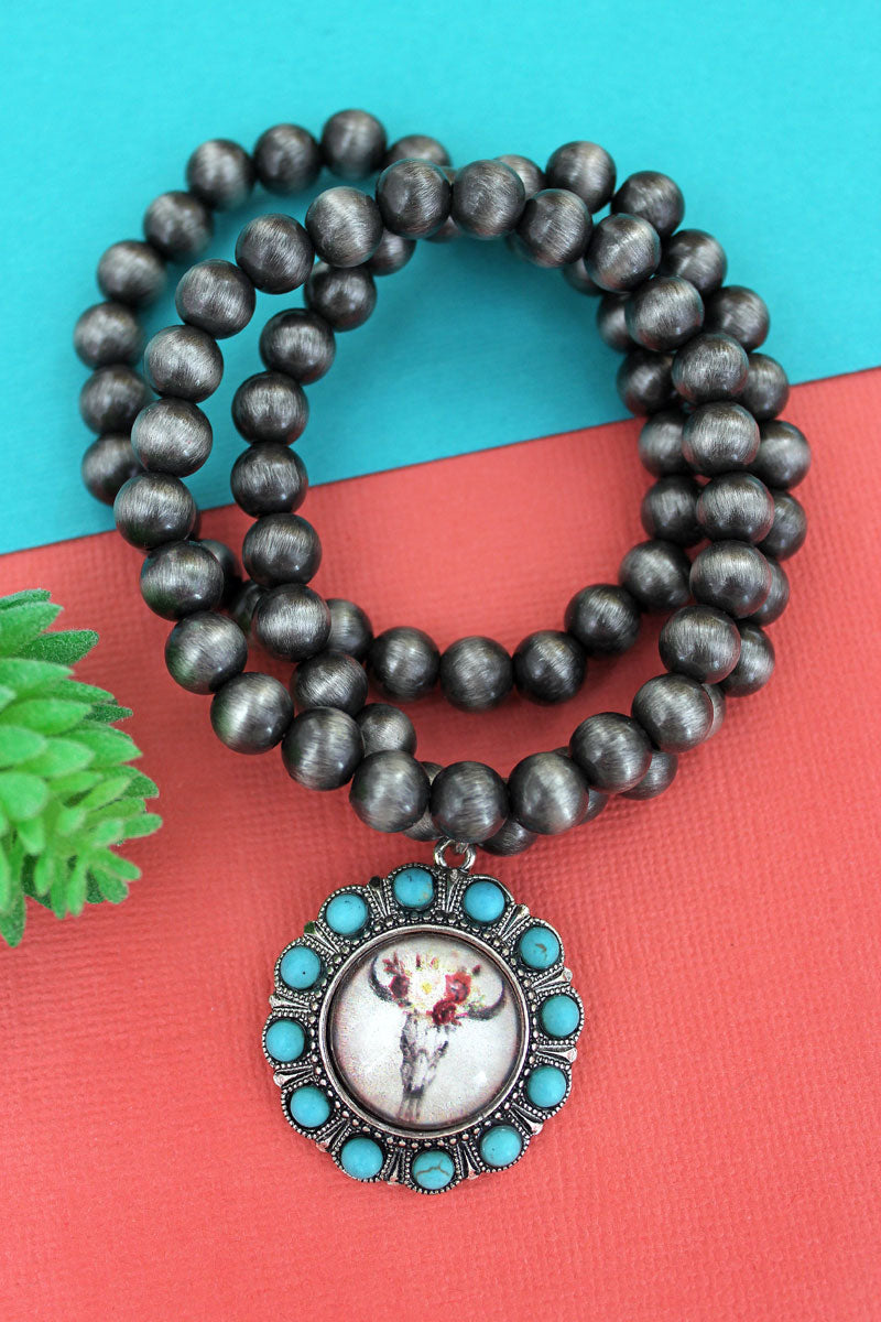 Turquoise Beaded Silvertone Floral Steer Bubble Concho Navajo Pearl Bracelet Set