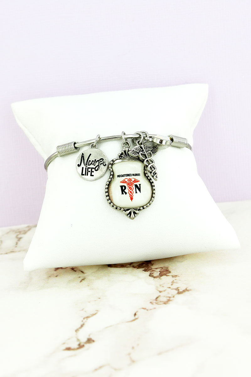 Silvertone 'Registered Nurse' Charm Bangle
