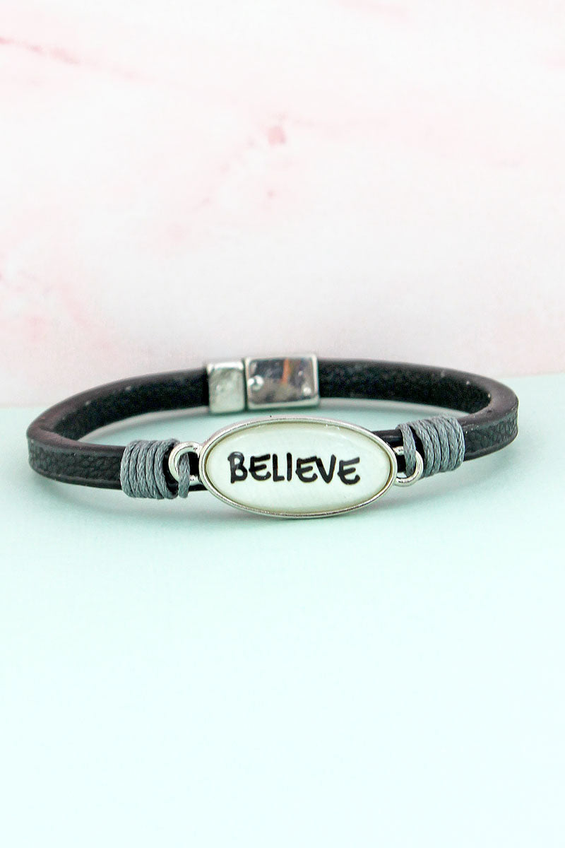 Believe Bubble Oval Black Faux Leather Magnetic Bracelet