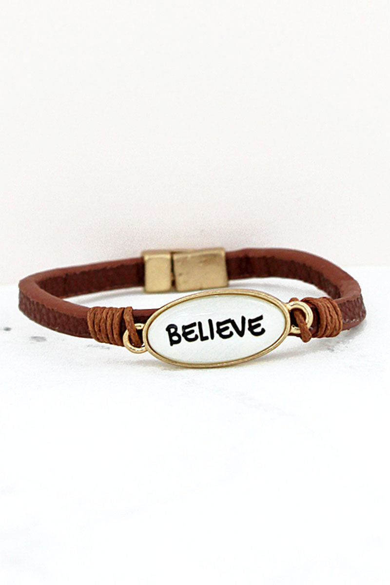 Believe Bubble Oval Brown Faux Leather Magnetic Bracelet