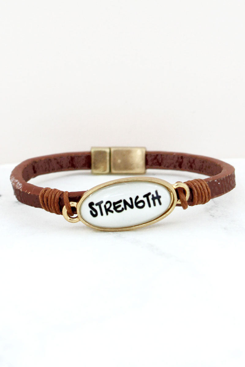 Strength Bubble Oval Brown Faux Leather Magnetic Bracelet