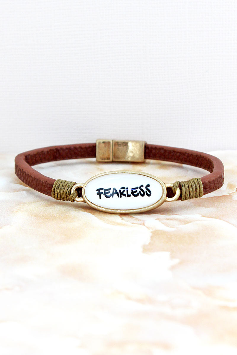 Fearless Bubble Oval Brown Faux Leather Magnetic Bracelet