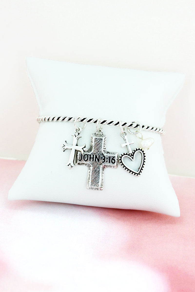 Silvertone 'John 3:16' Cross Charm Bangle