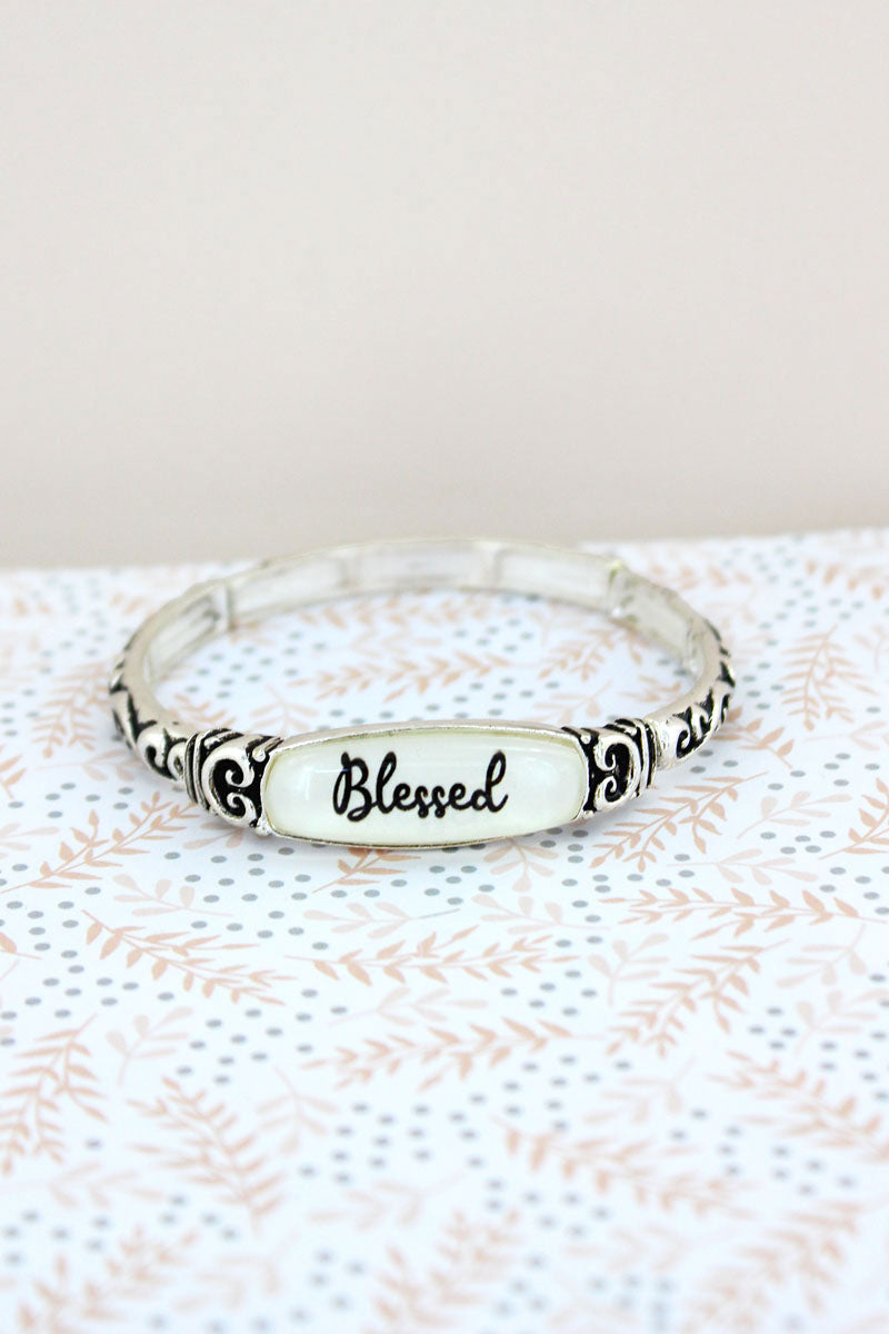 Blessed Silvertone Scroll Stretch Bracelet
