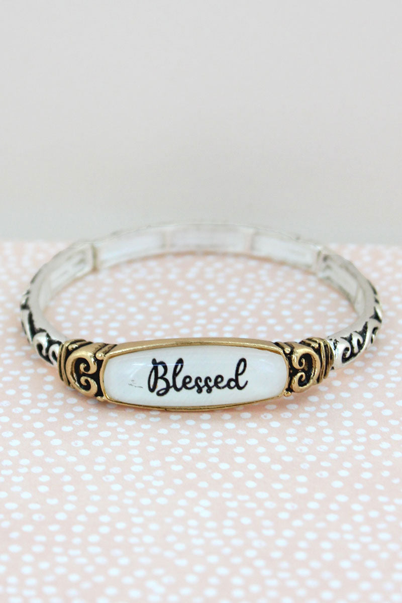 Blessed Two-Tone Scroll Stretch Bracelet