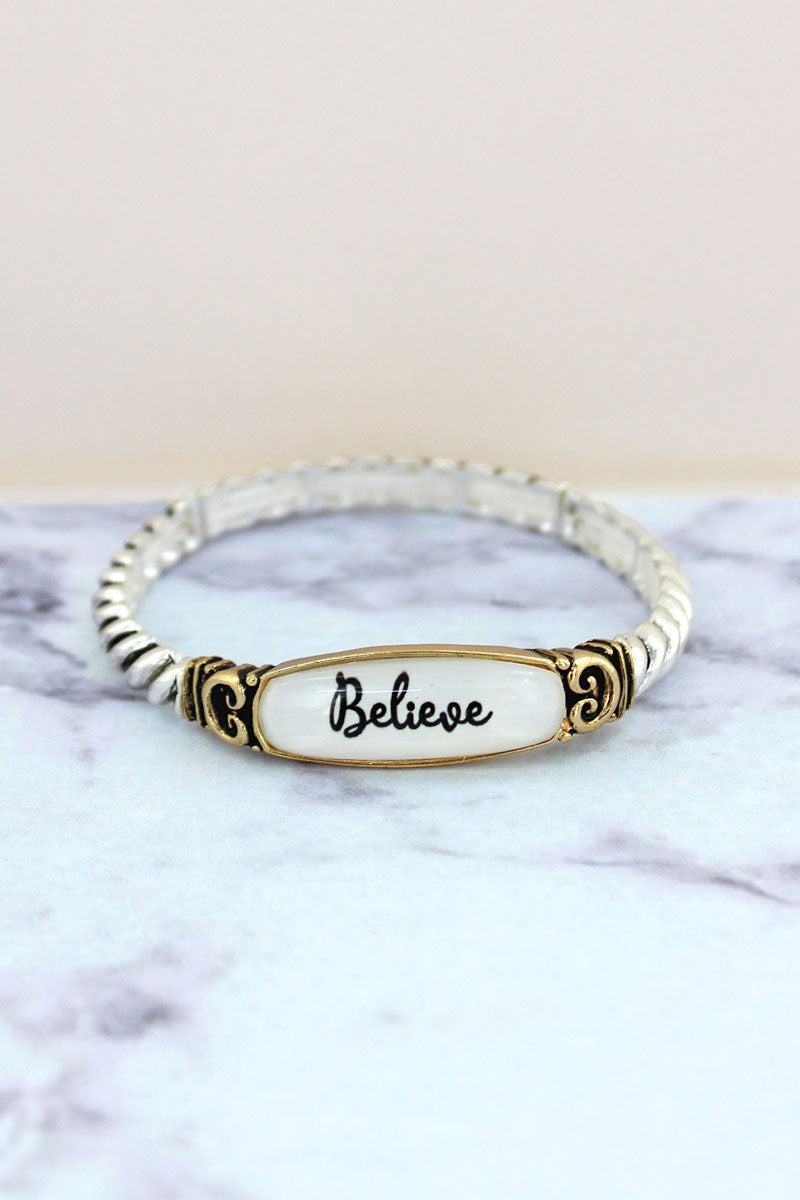 Believe Two-Tone Rope Textured Stretch Bracelet