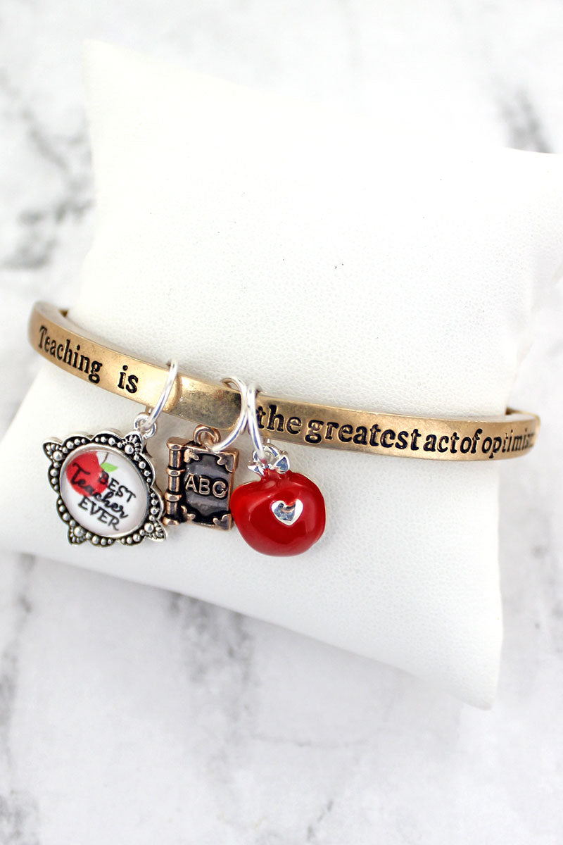 Tri-Tone 'Best Teacher Ever' Charm Stretch Bracelet
