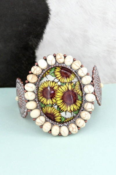 White Stone Framed Sunflower Bubble Concho Cuff Bracelet
