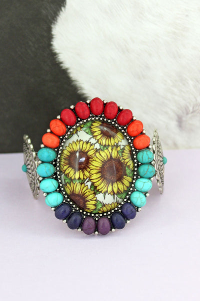 Multi-Color Stone Framed Sunflower Bubble Concho Cuff Bracelet