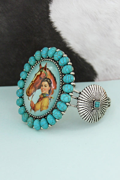 Turquoise Stone Framed Cowgirl Bubble Concho Cuff Bracelet