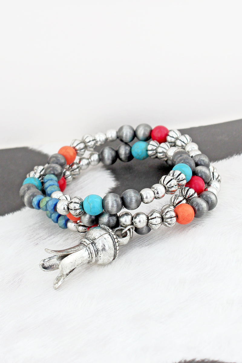 Multi-Color Beaded Squash Blossom Coil Bracelet