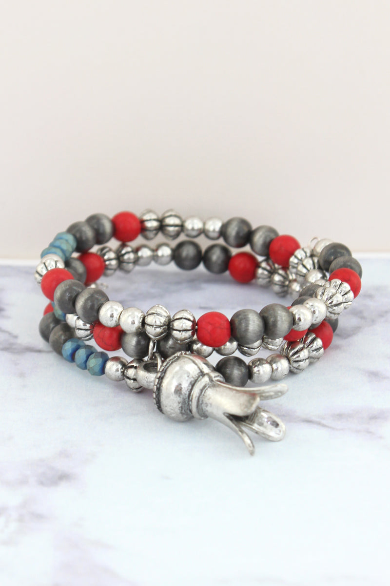 Red Beaded Squash Blossom Coil Bracelet