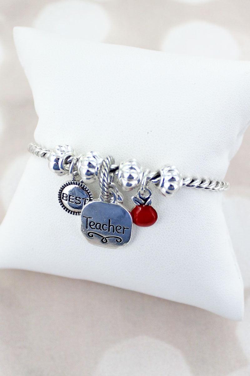 Silvertone Teacher Charm Twisted Bracelet