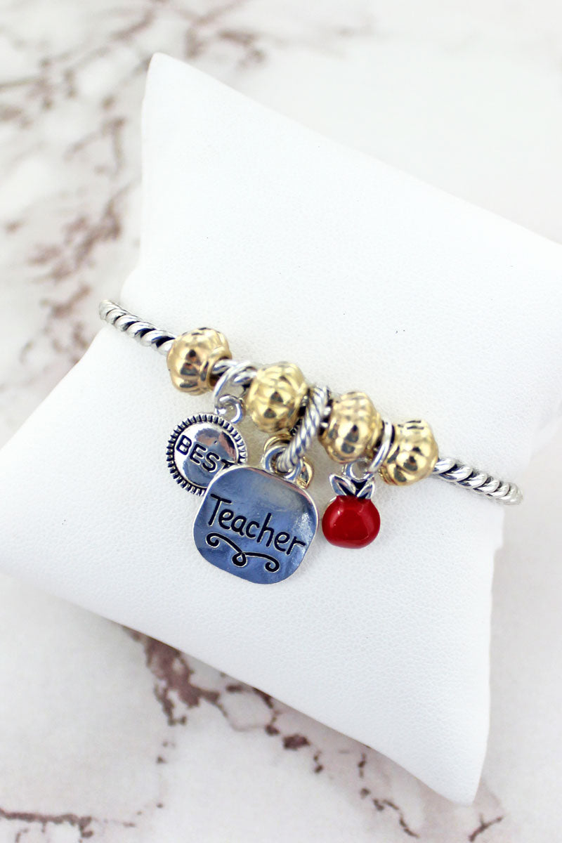 Two-Tone Teacher Charm Twisted Bracelet